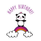 Panda with rainbow. Happy Birthday card. Hand drawn panda with rainbow for little girls. Vector Stock Photo