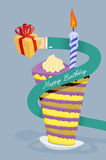 Happy birthday card. Hand gives gift. Long arm around the cake. Stock Photos