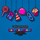 Happy Birthday card with hanging items, balloon, cake, hat, lollipop, masquerade and gift on dotted background. Vector Royalty Free Stock Image