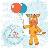 Happy birthday card with happy cow holding Stock Images