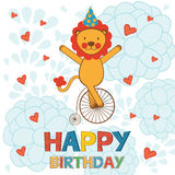 Happy birthday card with happy lion performing Stock Photos