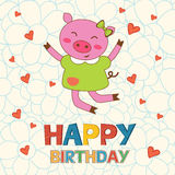 Happy birthday card with happy pig jumping Royalty Free Stock Image