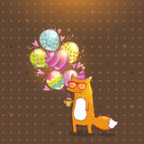 Happy Birthday card with hipster fox. Stock Photo