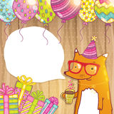 Happy Birthday card with hipster fox. Royalty Free Stock Photos