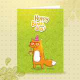 Happy Birthday card with hipster fox. Stock Images