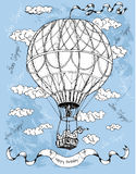 Happy birthday card with hot air balloon on blue Stock Image