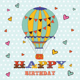 Happy birthday card with hot air balloon and Royalty Free Stock Images