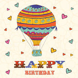 Happy birthday card with hot air balloon and Stock Photography