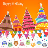 Happy Birthday Card. Illustration of a Happy Birthday Card with cakes and owls Royalty Free Stock Images