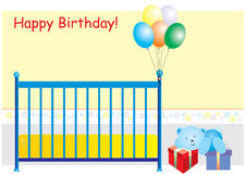 Happy Birthday card. A  illustration of a birthday card with teddy bear and presents Royalty Free Stock Image