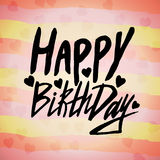 Happy birthday card with inked handwritten phrase. Vector creative design with bokeh hearts confetti. Stock Images