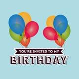 Happy birthday card invitation colored balloons. Illustration eps 10 Stock Photo