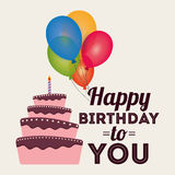 Happy birthday card invitation greeting cake balloons. Illustration eps 10 Stock Image
