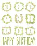 Happy birthday card invitation with Set Stock Image