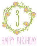Happy birthday card invitation with Set Royalty Free Stock Images