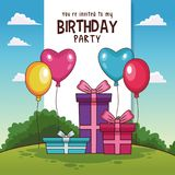 Happy birthday card invitation. Vector illustration graphic design Royalty Free Stock Image