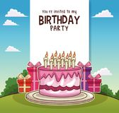 Happy birthday card invitation. Vector illustration graphic design Royalty Free Stock Images
