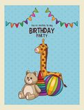 Happy birthday card invitation. Vector illustration graphic design Stock Image