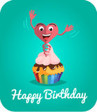 Happy birthday card  jumps out of cake 2 Royalty Free Stock Photography