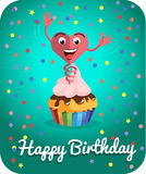 Happy birthday card  jumps out of cake Stock Photography