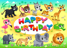 Happy Birthday card with Jungle animals Stock Photography