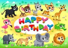 Happy Birthday card with Jungle animals royalty free illustration
