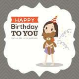 Happy birthday card with kid cartoon Royalty Free Stock Photography