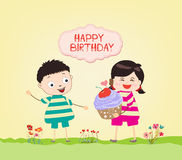 Happy Birthday card with kids and cupcakes Stock Image