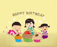 Happy Birthday card with kids and cupcakes Stock Photography