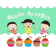 Happy Birthday card with kids and cupcakes Royalty Free Stock Photography