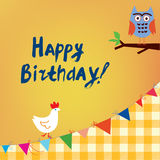 Happy birthday card for the kids with owl and chicken Stock Photo
