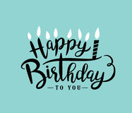 Happy Birthday. Birthday card with lettering design Stock Images