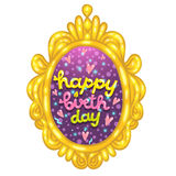 Happy Birthday card with a lettering in frame. Stock Image