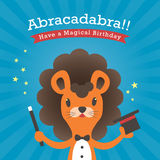 Happy birthday card with lion cartoon abracadabra Stock Photo