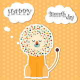 Happy birthday card with lion Stock Images
