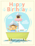 Happy birthday card with little boy and friend Stock Photography