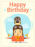Happy birthday card with little boy and friend, Royalty Free Stock Image