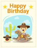 Happy birthday card with little boy and friend Royalty Free Stock Photo
