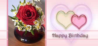 Happy birthday card with love hearts, little posy of chamomile Royalty Free Stock Images