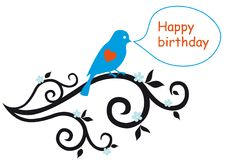 Happy birthday card with lovebird Stock Images