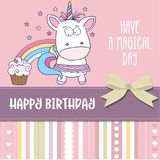 Happy birthday card with lovely baby girl unicorn royalty free illustration