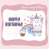 Happy birthday card with lovely baby girl unicorn stock illustration