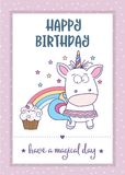 Happy birthday card  with lovely baby girl unicorn Royalty Free Stock Photos
