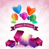 Happy Birthday card with magic gift box and colored balloon Stock Photos