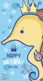 Happy birthday card for kids. Happy birthday card magic sea world concept Royalty Free Stock Image