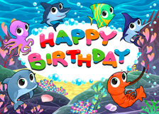 Happy Birthday card with marine life stock images