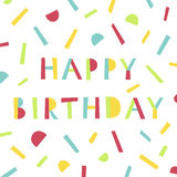 Happy Birthday card in memphis style. stock illustration