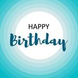 Happy birthday card for men on blue circles stock illustration