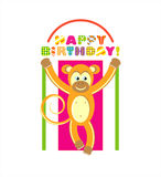Happy birthday card with monkey Stock Photos