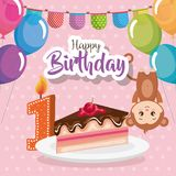 Happy birthday card with monkey. Vector illustration design stock illustration